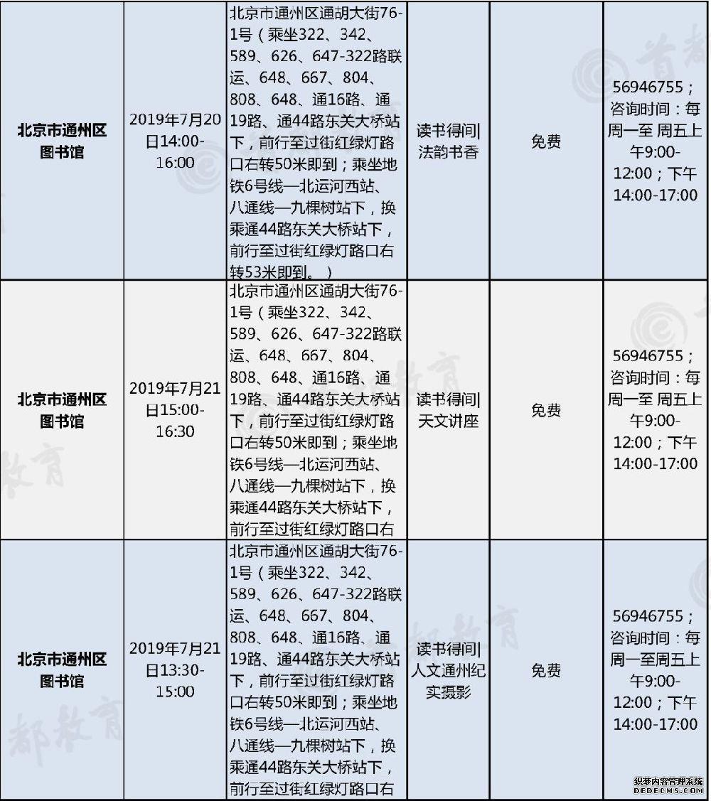 2019北京中小学社会大课堂暑期主题活动信息表