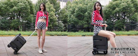 爱尔威(Airwheel)智能骑行箱2.0新品亮相国际箱包展