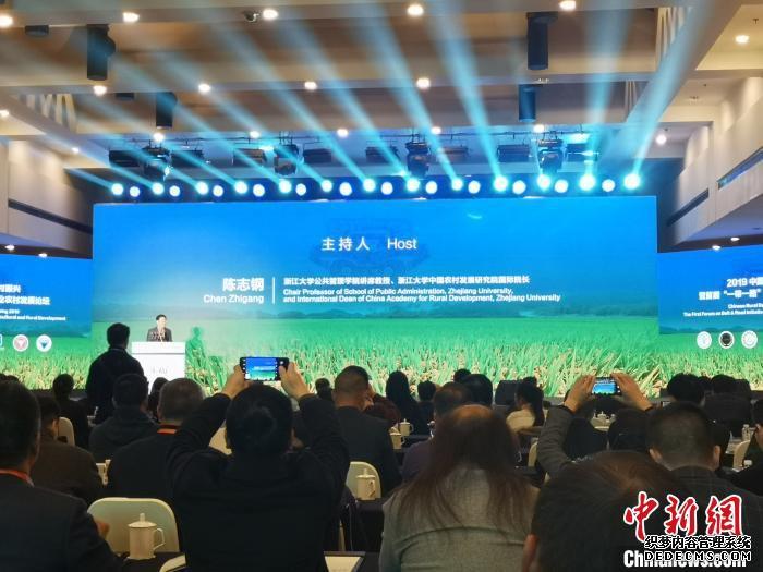 """2019中国乡村振兴暨首届""""一带一路""""农业农村发展论坛现场。 张煜欢 摄"""